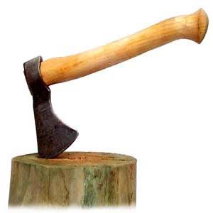 تبر فرو رفته در کنده درخت قطع شده