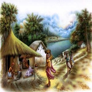نقاشی روستا با کلبه و رودخانه و دختران در حال حمل سبدهایی بر روی سر