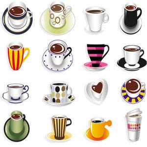 نقاشی تعدادی فنجان متفاوت
